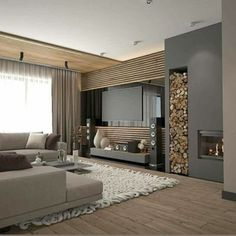 Living Room Decor Fireplace, Home Fireplace, Fireplace Design, Apartment Interior, Home Living Room, Interior Design Living Room, Living Room Tv Unit Designs, Home Room Design, House Rooms