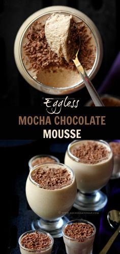 Eggless Mocha Chocolate Mousse - Easiest Recipe Ever! Eggless Desserts, Eggless Recipes, Eggless Baking, Köstliche Desserts, Delicious Desserts, Mocha Chocolate, Chocolate Recipes, Chocolate Lovers, Coffee Mousse