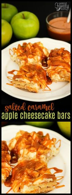 These Salted Caramel Apple Cheesecake Bars are HEAVENLY. They have a sweet crust, a cheesecake filling, a cinnamon apple topping, and salted caramel on top.