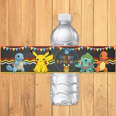 Pokemon Drink Label Chalkboard Pokemon Water por SometimesPie
