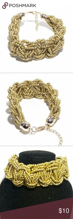 """Chunky Sage Bracelet Beaded sage braided bracelet paired with gold hardware  - 7.5"""" length + 1.5"""" chain extender - Goldtone, beaded - Lobster clasp Jewelry Bracelets"""