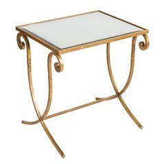 Mesa auxiliar laton dorado y tapa de espejo envejecido