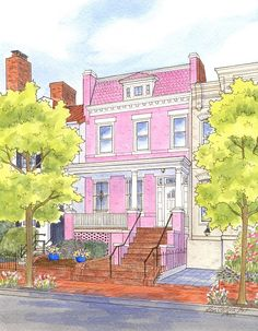 "The well known ""Pink House"" on 6th St SE, Washington DC"