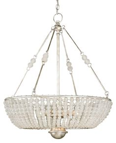 Cleo Chandelier with its Crystal bead ornamentation and Silver Granello finish, has graceful lines and transitional materials give it wide-ranging appeal. Eight 60 watt, 120 volt B10 type Candelabra base incandescent bulbs are required, but not included. 30 inch width x 36 inch height.