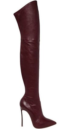 Pointed Toe Fashion Knee High Boots>Material:Leather >Lining Material:PU >Outsole Material:Rubber >Toe:Pointed Toe >Closure Type:Slip-On >Shaft Height:60cm >Heel Height:12cm