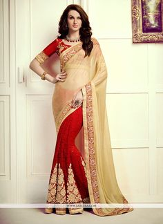 Add a vibrant burst of colour for your wardrobe with this red faux chiffon designer saree. The ethnic embroidered, patch border and resham work over a dress adds a sign of elegance statement for your ...