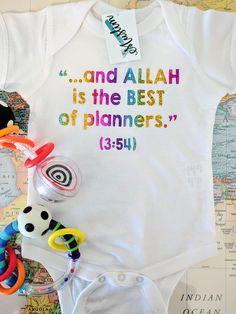 Muslim Rainbow Baby. Miracle. And Allah is the Best of Planners. Quranic. Arabic. Baby Onesie/Tee. Islamic Gift.