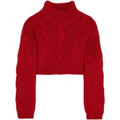 Vivienne Westwood Anglomania Cropped felt-paneled chunky-knit sweater featuring polyvore, fashion, clothing, tops, sweaters, red, red cropped sweater, red crop top, loose fit crop top, loose sweater and loose crop top