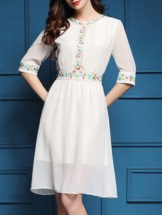 Shop White Flowers Embroidered A-Line Dress online. SheIn offers White Flowers Embroidered A-Line Dress & more to fit your fashionable needs.