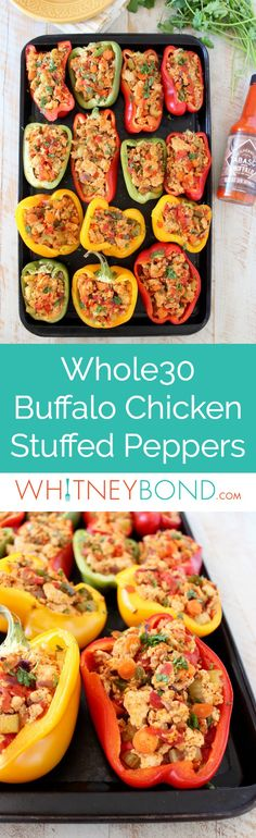 Ground chicken, spices, veggies and buffalo sauce are baked in bell peppers for a healthy recipe that's gluten free, dairy free and compliant! Ground Chicken Recipes, Chicken Parmesan Recipes, Buffalo Chicken Stuffed Peppers, Chicken Carbonara Recipe, Recipe Chicken, Easy Whole 30 Recipes, Dairy Free, Gluten Free, Parmesan