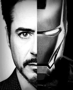 Robert Downey Jr half Iron man