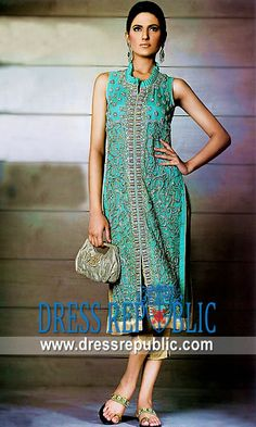 Aqua Trinny, Product code: DR1885, by www.dressrepublic.com - Keywords: Internet Shalwar Kameez Shopping New York, Salwar Kameez Shopping