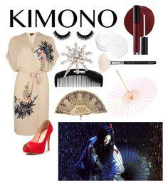 """Like a Geisha "" by marietommo14 on Polyvore featuring Dorothy Perkins, Brelli, ZOEVA, NARS Cosmetics, Anastasia Beverly Hills, rms beauty, Jennifer Behr and kimonos"