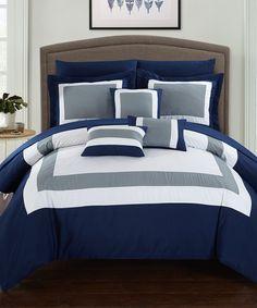 Navy Regale 10-Piece Bedding Set