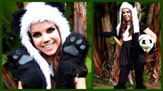 Cute & Cuddly Panda Look ♥ Makeup, Hair, and Costume! - Miss Glamorazzi Panda Costume Halloween Makeup, Halloween Fun, Halloween Costumes, Panda Makeup, Panda Costumes, Costume Contest, Costume Ideas, Panda Eyes, Sanrio Characters