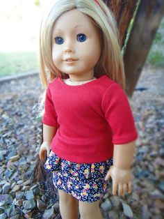 How to Make Peplum Skirt for American Girl Dolls  tutorial - no pattern needed, Length / height of the fabric needed. Waistband – 2 inches L x 13.5 inches W Ruffle – 2.5 inches L x 26 inches W Skirt – 4 inches L x 13.5 inches W