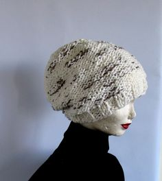 Hand knit chunky EXTRA slouchy knit hat / women by recyclingroom, $30.00