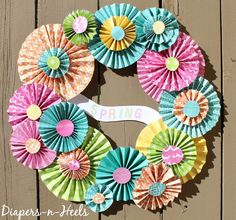 Spring Wreath - Paper Wreath - Bright Colored Spring Wreath - How to - www.madewithHAPPY.com