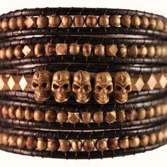 Skull wrap gold-black