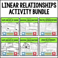 Linear Relationships Activity Bundle - This bundle includes 6 classroom activities to support students knowledge of linear relationships. All are hands on, engaging, easy to prep, and perfect to incorporate into the classroom, intervention time, tutoring, or as enrichment activities. Enrichment Activities, Number Activities, Classroom Activities, Classroom Websites, Rational Numbers, Maths Algebra, 7th Grade Math, Common Core Standards, Teacher Hacks
