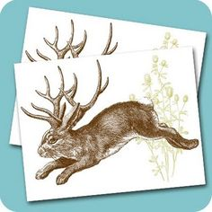 Thompsondesigns where traditional art meets digital: New in Store! Jackalope Printable Flat Notecard PDF