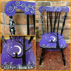 A Halloween chair that I painted to sell at my booth for Halloween! Hand Painted Chairs, Whimsical Painted Furniture, Hand Painted Furniture, Funky Furniture, Art Furniture, Furniture Makeover, Halloween Art, Holidays Halloween, Halloween Decorations