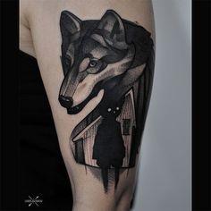 blackworl wolf tattoo by @tai9a