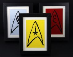 Anna - Original Star Trek Badges Pattern Set - Command, Science and Engineering Cross Stitching, Cross Stitch Embroidery, Embroidery Patterns, Cross Stitch Patterns, Star Trek Cross Stitch, Star Trek Birthday, Cross Stitch Quotes, Nerd Crafts, Fathers Day Crafts