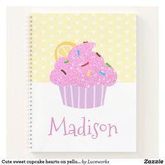 Cute sweet cupcake hearts on yellow, modern school notebook