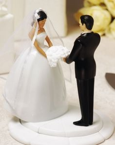 Ty Wilson Interracial Interchangable Bride and Groom Wedding Cakeside Figurines- More Races Available