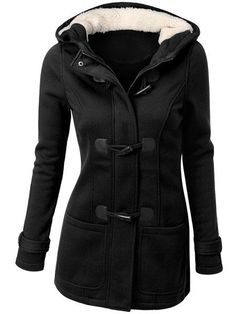 Solid Color Double-Pocket Flocking Casual Hooded Long Sleeve Coat For Women