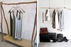 Τα ρούχα που έχουμε ήδη φορέσει δεν ξαναμπαίνουν στην ντουλάπα, μαζί με τα καθαρά. Δείτε, λοιπόν, πώς μπορείτε να τα τακτοποιείτε όμορφα και... με στιλ, σε πρωτότυπες αυτοσχέδιες κρεμάστρες! Villas, Wardrobe Rack, Decor Ideas, Interior Design, Decoration, Furniture, Vintage, Home Decor, Nest Design