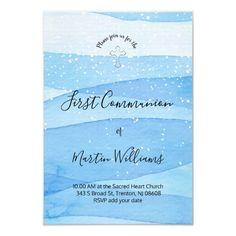 blue watercolor background First Communion Invitation   Zazzle.com