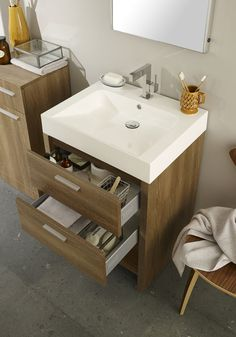 The Dunbar furniture pack in Textured Oak offers a floor mounted basin unit with two soft-close metal box drawers and a storage niche, plus a handy cupboard unit. The polymarble basin is sloped to provide additional washing space.