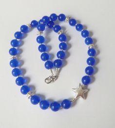 Jade-Kette Collier mit Stern blau-silber von soschoen auf DaWanda.com