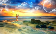 Supernatural Love - Fantasy, Sea, Love, Moon, Horizon, Sky, Fantasy Lovers, Angel, Men, Girl