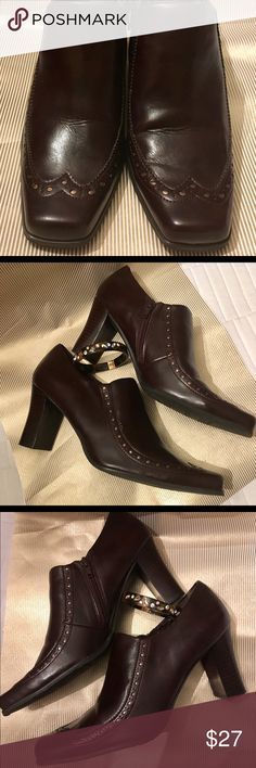 "LIKE NEW FRANCO SARTO Bibi Cognac & Gold Booties Wingtip charm with a touch of gold in the spectator design! Very minor wear to the lifts, otherwise like new. Vegan. You can't afford to miss these! 3.25"" stacked heel. Franco Sarto Shoes Ankle Boots & Booties"
