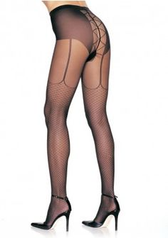 Sheer Pantyhose with Mock Lace Up Garterbelt and Net Stockings