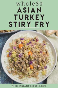 This Whole30 Asian Turkey Stir Fry is the perfect easy, low carb dinner! Paleo, whole30, and keto - it's delicious and simple to make! I use ground turkey and cauliflower rice - but you can use whatever meat and veggies you have on hand! Easy Whole 30 Recipes, Easy Clean Eating Recipes, Clean Eating Diet, Easy Healthy Dinners, Healthy Meal Prep, Healthy Turkey Recipes, Healthy Gluten Free Recipes, Whole30 Recipes, Lunch Recipes