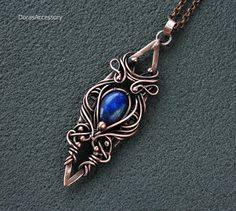 Copper pendant with lapis lazuli Wirewrapped by DorasAccessory