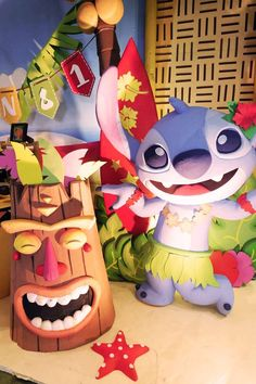 Fun decorations at a Lilo & Stitch birthday party! See more party planning ideas at CatchMyParty.com!