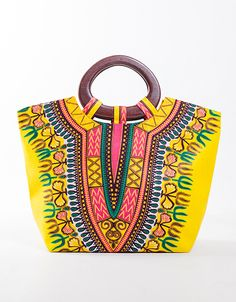 Sac Kingsize imprimé dashiki jaune en wax par ena-dreams