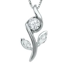 "This beautiful Sirena Flower Design diamond pendant features 3 diamonds set into a 14k White pendant along with an 18"" 14K White Gold chain"