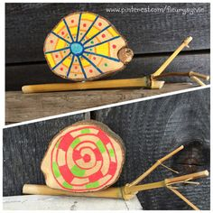 Arts And Crafts Projects, Wood Crafts, Diy For Kids, Crafts For Kids, Nature Crafts, Wood Toys, Land Art, Diy Toys, Entryway Decor