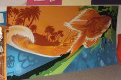 """fish outta water"" Graffiti Murals, Art Portfolio, Local Artists, Street Art, Bay Area, Painting, Fish, Water, Gripe Water"