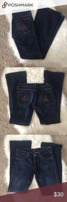 "7 For All Mankind ""A"" Pocket Jeans These jeans are in excellent condition, bit of wear on the bottom but not noticeable! 31in waist, 41in long, 33 1/4in inseam. Offers welcomed! 7 For All Mankind Jeans Boot Cut"