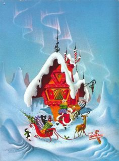North Pole - 1966 - Vintage Christmas Card → For more, please visit me at… Christmas Scenes, Noel Christmas, Retro Christmas, Christmas Greetings, Christmas Crafts, Christmas Decorations, Merry Christmas To All, Primitive Christmas, Country Christmas