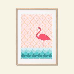 Affiche de flamant rose : Illustration animale moderne rétro Art mur décor impression A4 8 x 11