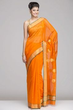 Striking Orange Chanderi Saree With A Gold Zari Border And Gold Zari Floral Motifs On The Pallu Indian Dresses, Indian Outfits, Indian Clothes, Indian Attire, Indian Wear, Middle Eastern Fashion, Simple Sarees, Desi Wear, Stylish Sarees