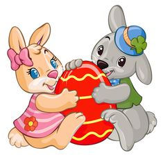 Easter Bunnies with Red Egg PNG Clipart